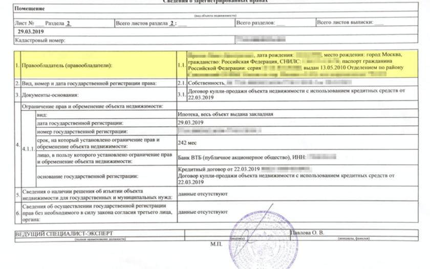 Как выглядит информация о собственнике в выписке из ЕГРН