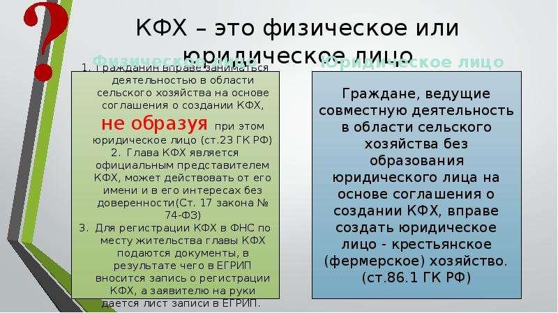 КФХ это юридическое или физическое лицо